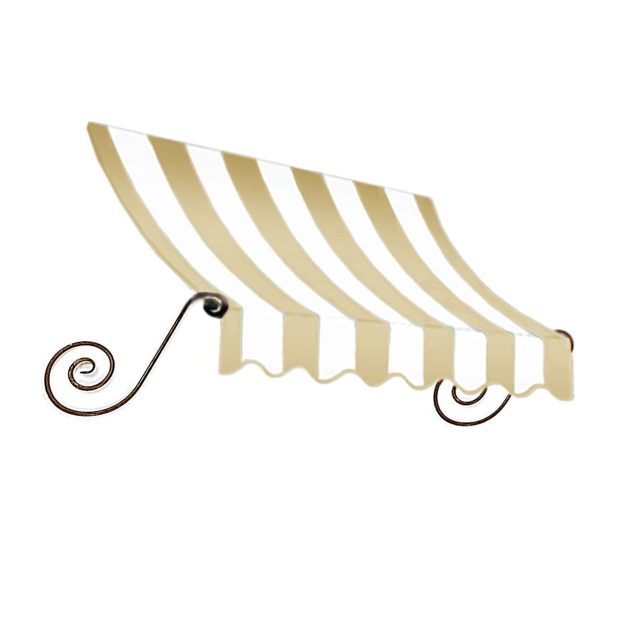 "Awntech 4' Beauty-Mark� Charleston� (31""H X 24""D) Window/Entry Awning / Tan/White Stripe"