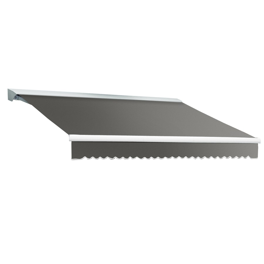 Awntech 168-in Wide x 120-in Projection Gray Solid Slope Patio Retractable Manual Awning