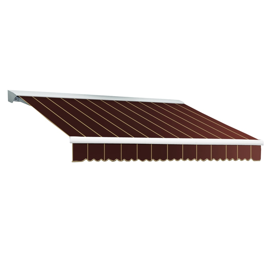 Awntech 120-in Wide x 96-in Projection Burgundy Pin-Stripe Slope Patio Retractable Remote Control Awning