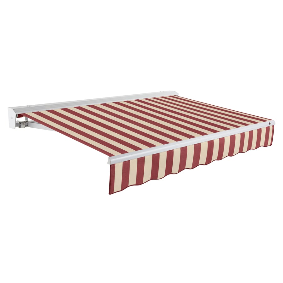 Awntech 96-in Wide x 84-in Projection Burgundy/Tan Stripe Slope Patio Retractable Remote Control Awning