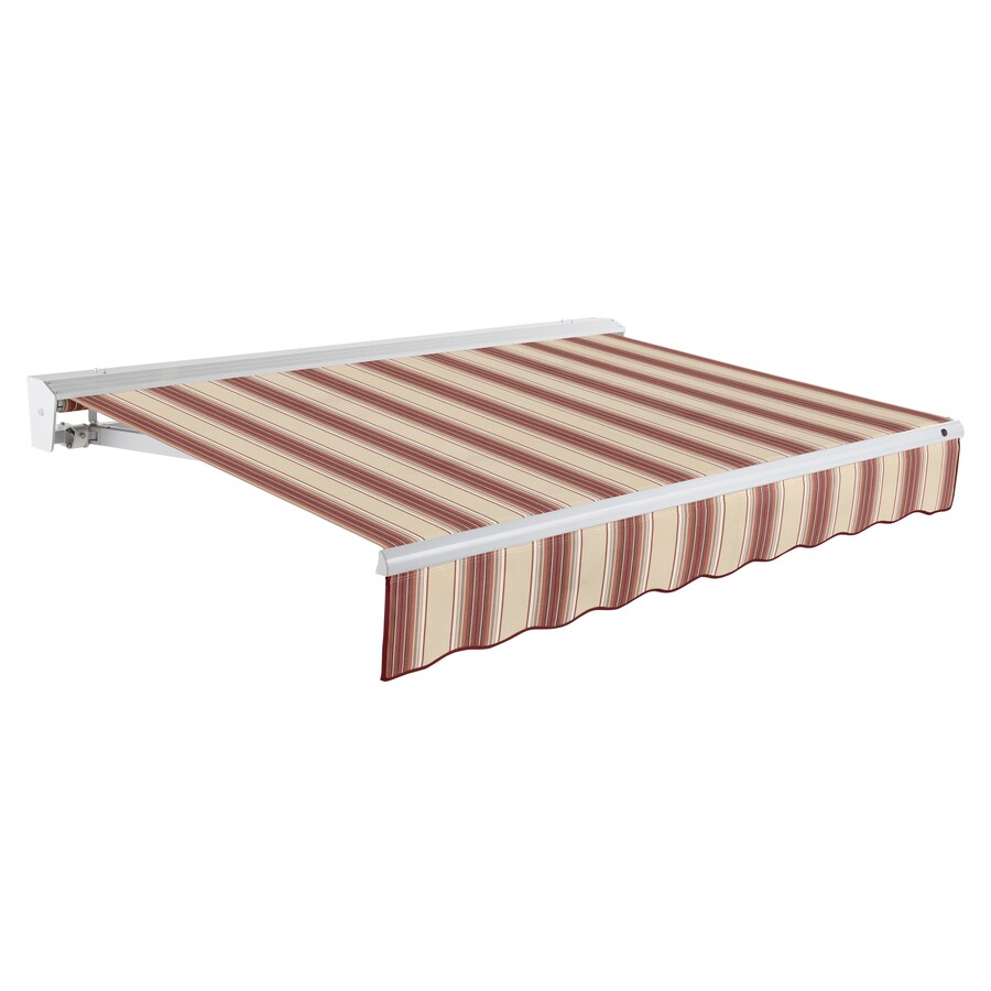 Awntech 96-in Wide x 84-in Projection Burgundy/Tan Multi Stripe Slope Patio Retractable Remote Control Awning