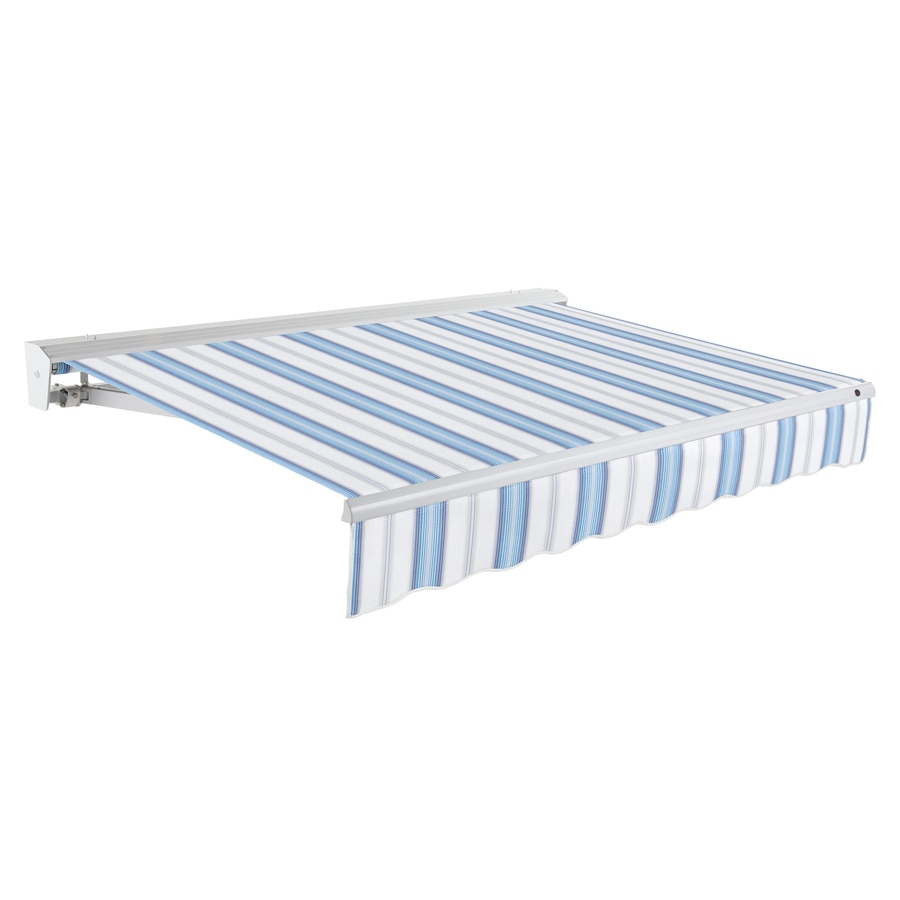 Awntech 144-in Wide x 120-in Projection Blue Multi Stripe Slope Patio Retractable Remote Control Awning