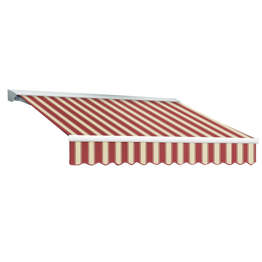 Awntech 192-in Wide x 120-in Projection Burgundy/White Multi Stripe Slope Patio Retractable Remote Control Awning