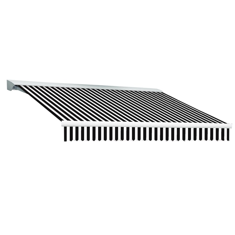 Awntech 192-in Wide x 120-in Projection Black/White Stripe Slope Patio Retractable Remote Control Awning