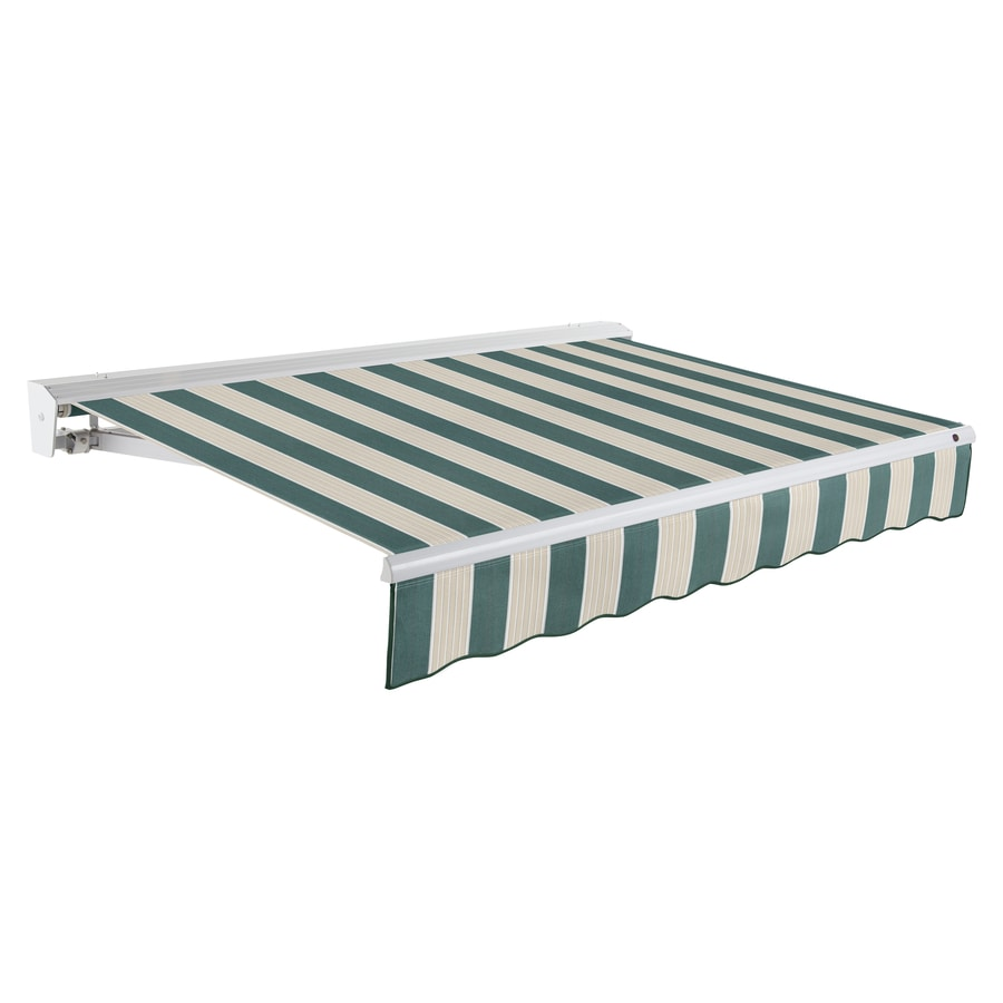 Awntech 240-in Wide x 120-in Projection Forest/Gray Multi Stripe Slope Patio Retractable Remote Control Awning