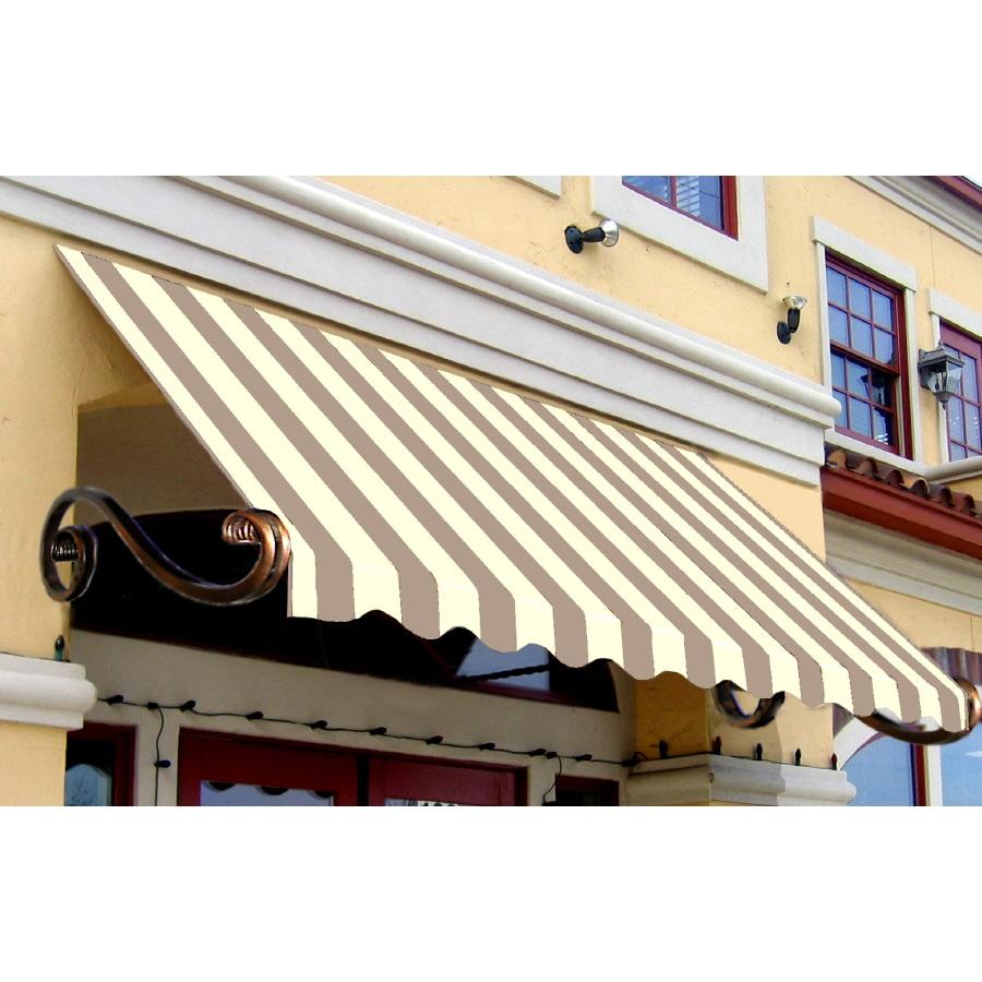 "Awntech 6' Beauty-Mark® Charleston® (44""H X 36""D) Window/Entry Awning / Tan/White Stripe"