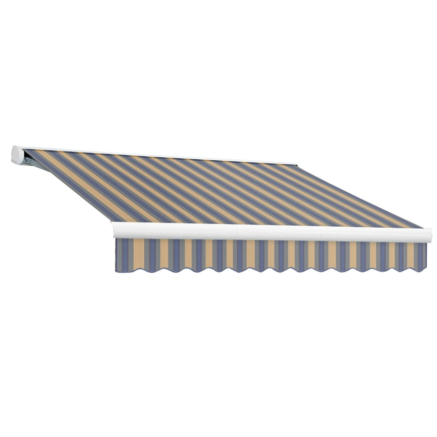 Awntech 192-in Wide x 120-in Projection Dusty Blue/Tan Multi Stripe Slope Patio Retractable Manual Awning
