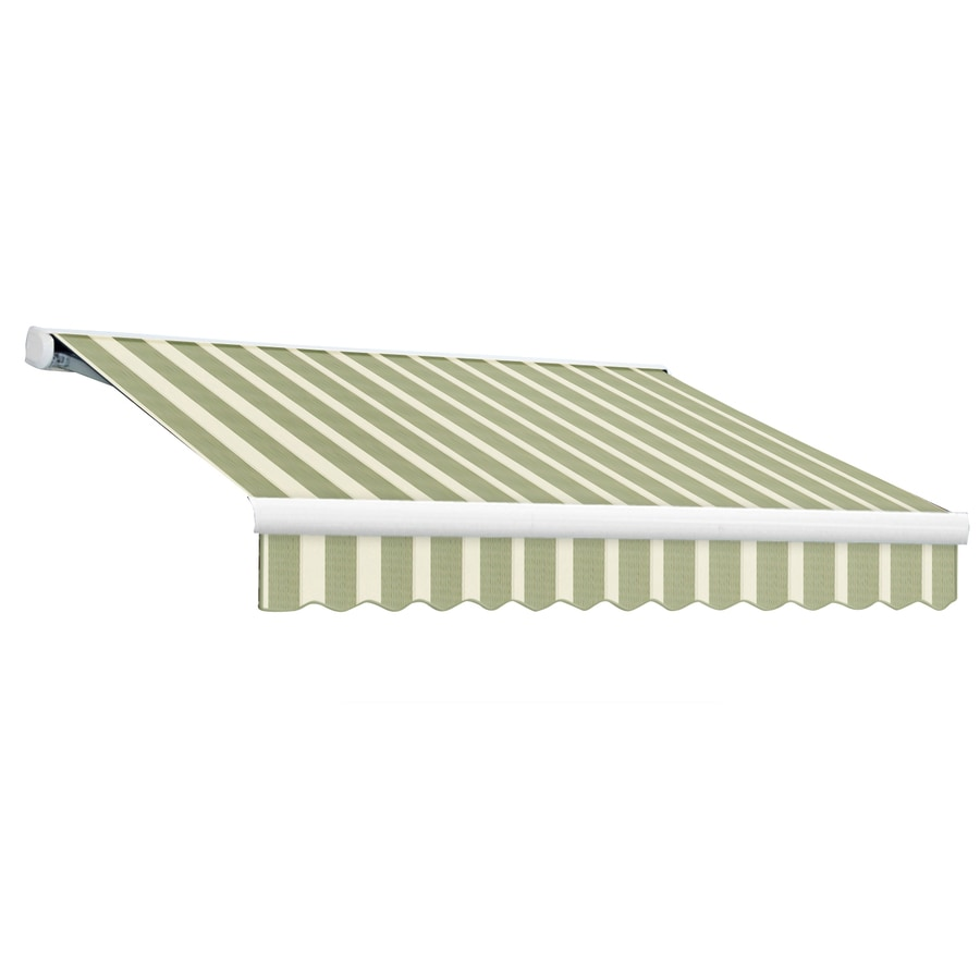 Awntech 192-in Wide x 120-in Projection Sage/Linen/Cream Stripe Slope Patio Retractable Manual Awning