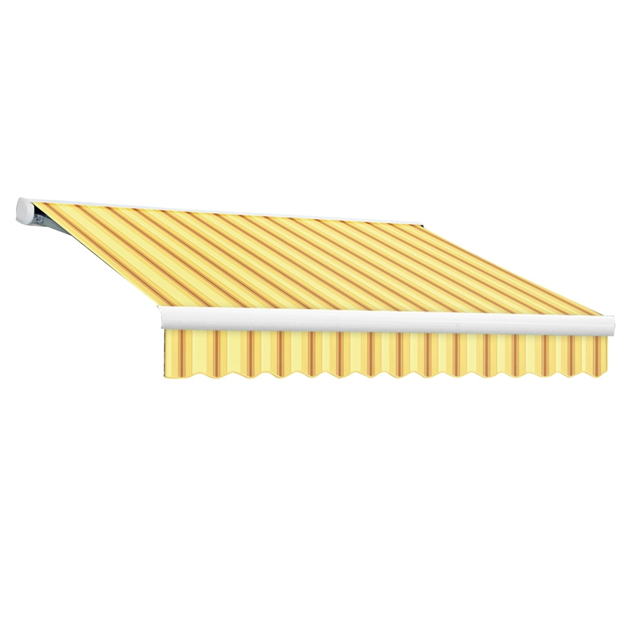 Awntech 168-in Wide x 120-in Projection Yellow/Terra Stripe Slope Patio Retractable Remote Control Awning