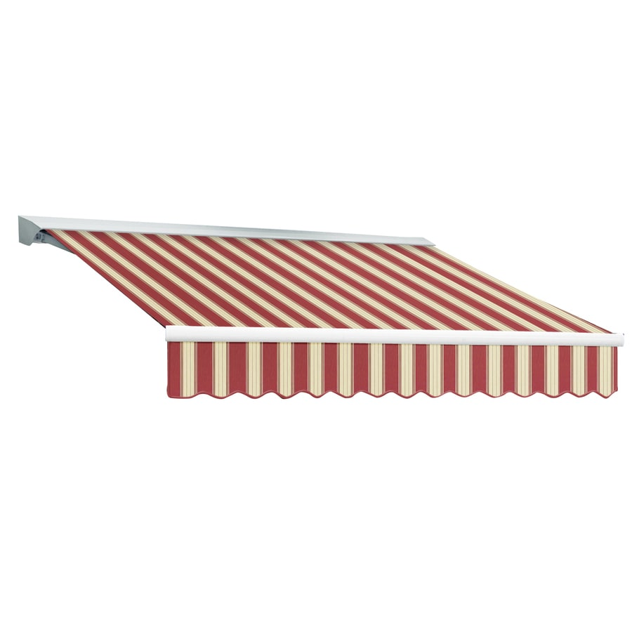 Awntech 240-in Wide x 120-in Projection Burgundy/White Multi Stripe Slope Patio Retractable Remote Control Awning