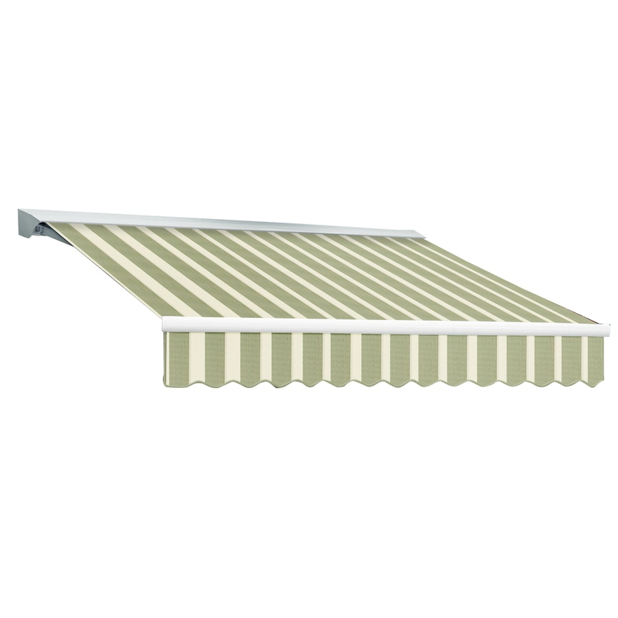 Awntech 120-in Wide x 96-in Projection Sage/Linen/Cream Stripe Slope Patio Retractable Remote Control Awning