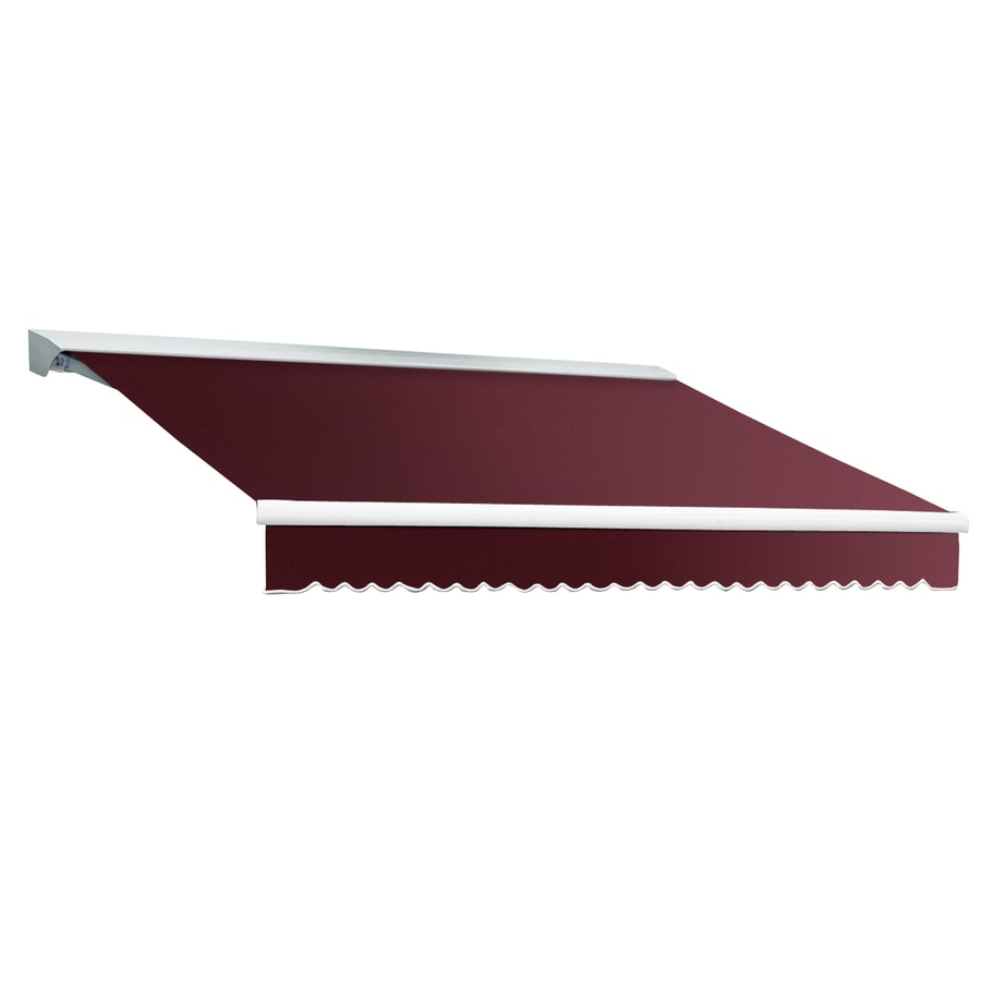 Awntech 216-in Wide x 120-in Projection Burgundy Solid Slope Patio Retractable Remote Control Awning