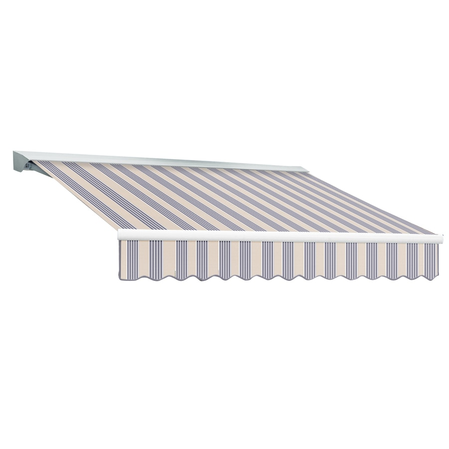 Awntech 120-in Wide x 96-in Projection Dusty Blue Multi Stripe Slope Patio Retractable Remote Control Awning