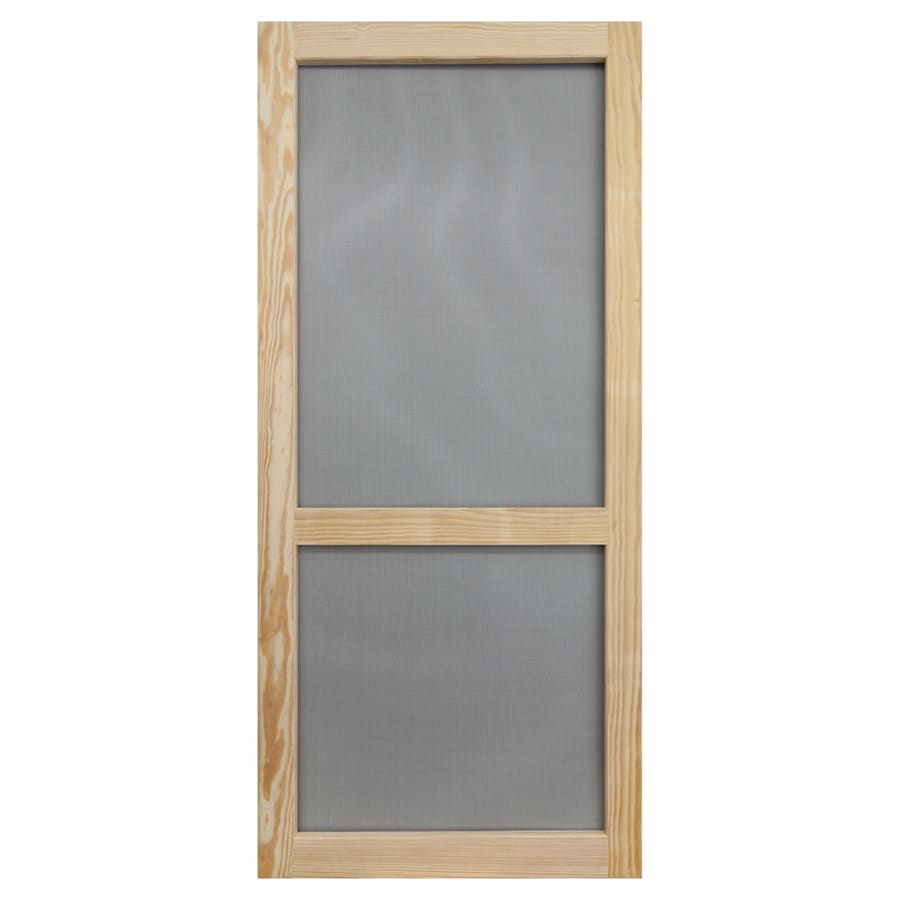 Shop screen tight stain grade pine wood hinged single bar for Interior screen door