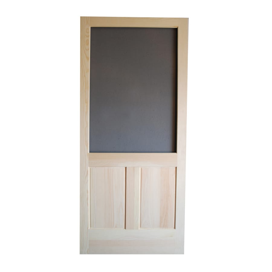 Screen Tight Pioneer Finger Joint Wood Hinged Decorative Screen Door  (Common: 36 In