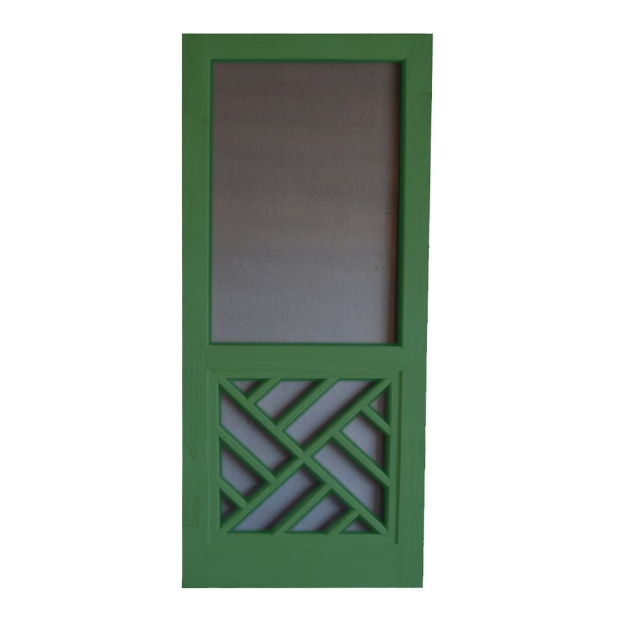 Screen Tight Chippendale Favorite Green Wood Screen Door (Common: 30-in x 80-in; Actual: 30-in x 80-in)