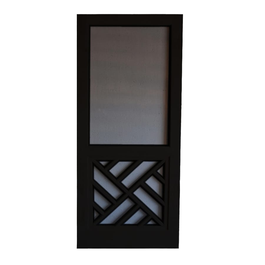 Screen Tight Chippendale Black Wood Screen Door (Common: 36-in x 80-in; Actual: 36-in x 80-in)