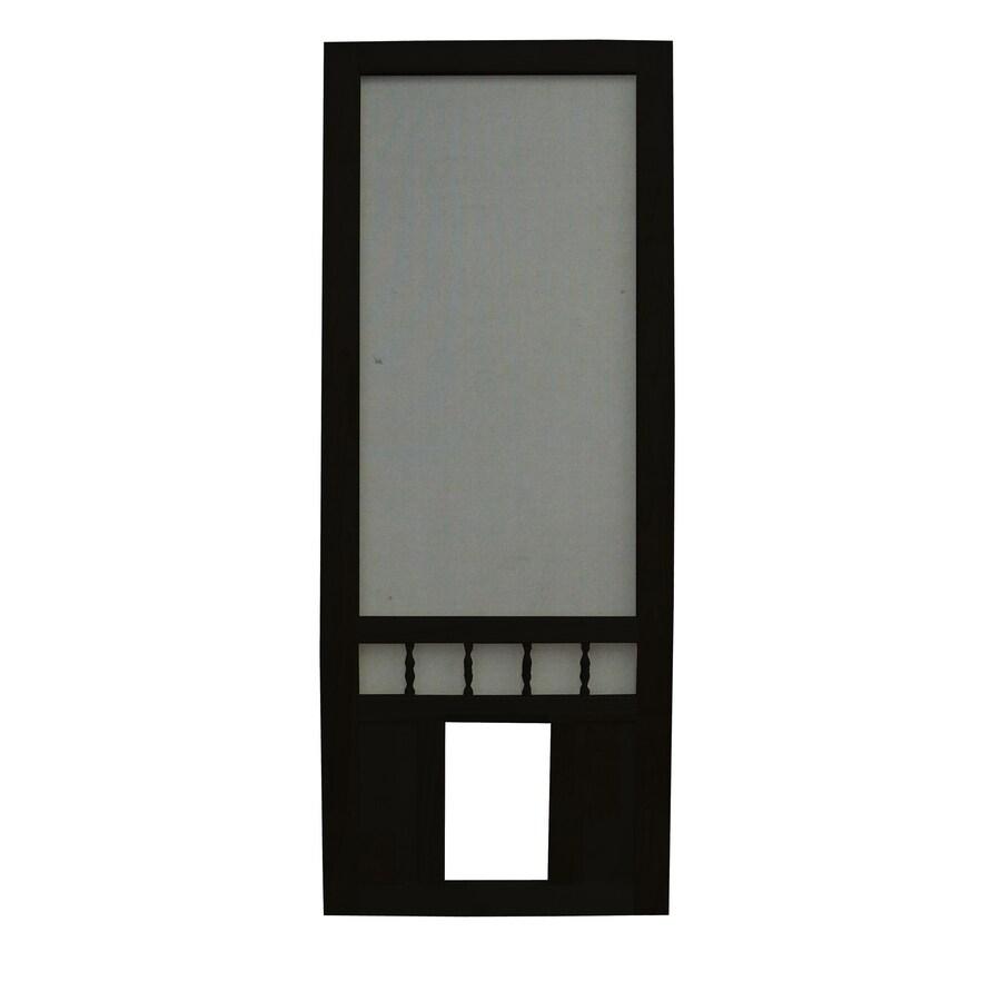 Screen Tight Southport 32 In Black Wood Screen Door With Pet Door