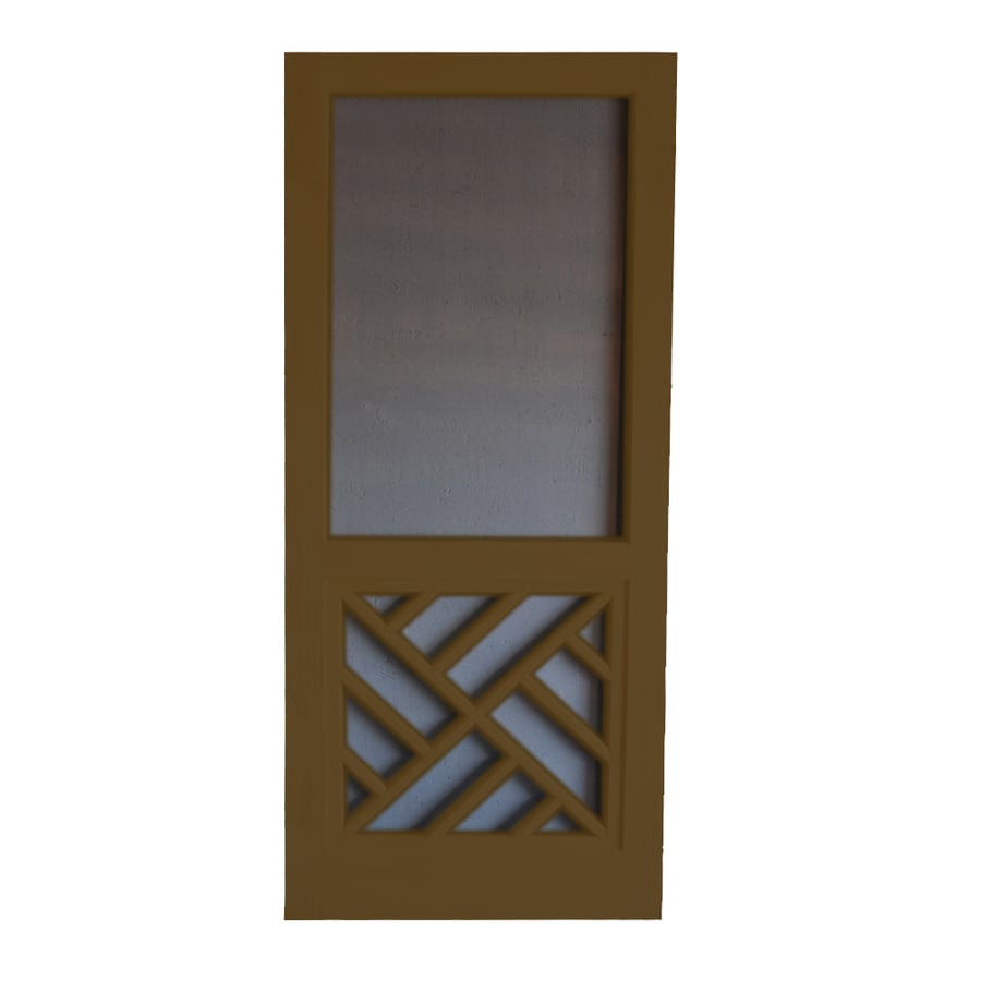 Screen Tight Chippendale Oxford Brown Wood Screen Door (Common: 36-in x 80-in; Actual: 36-in x 80-in)