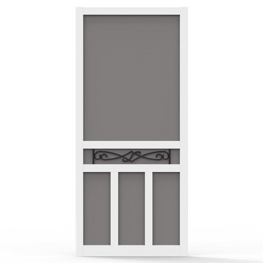 Screen Tight White Vinyl Hinged Double T-Bar Screen Door (Common: 32-in x 80-in; Actual: 32-in x 80-in)