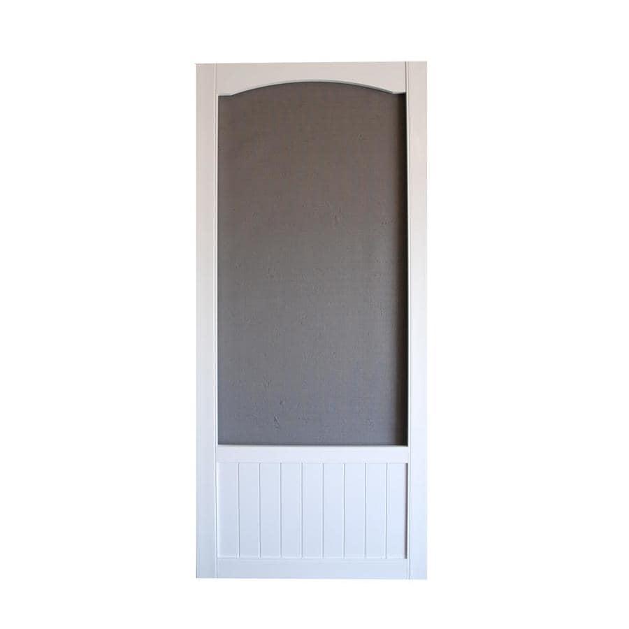 Screen Tight Seabrook White Vinyl Hinged Decorative Screen Door (Common:  36 In X