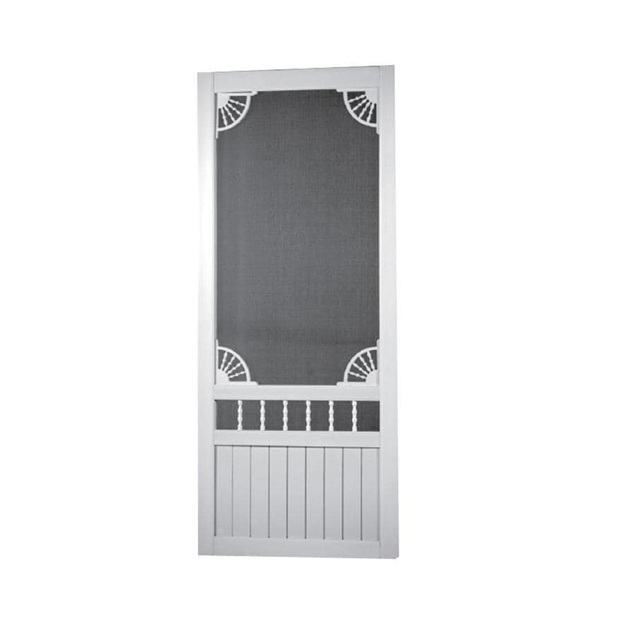 Shop screen tight laurel bay white vinyl hinged decorative screen door common 36 in x 80 in - White security screen door ...