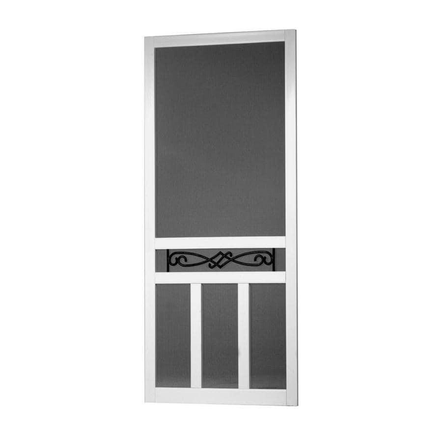 Screen Tight Santee White Vinyl Hinged Double T-bar Screen Door (Common: 32-in x 80-in; Actual: 32-in x 80-in)