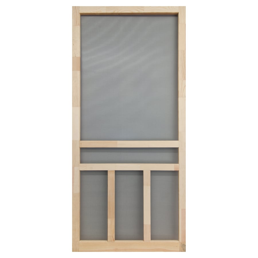 Screen Tight Finger Joint Wood Hinged Cross Bar Screen Door (Common: 36 In