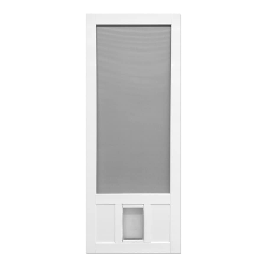 Screen Tight White Vinyl Hinged Screen Door With Pet Door Common