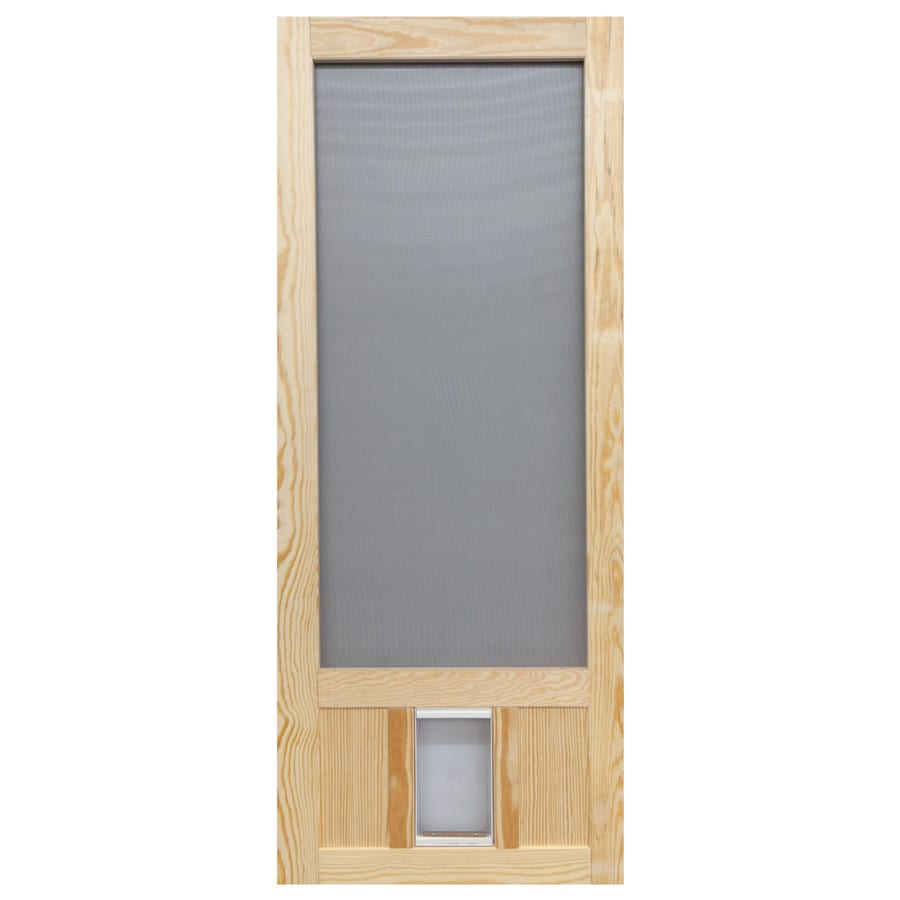 Shop Screen Tight Chesapeake Wood Hinged Screen Door With Pet Door Common 3