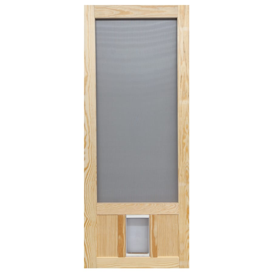Screen Tight Wood Wood Hinged Screen Door With Pet Door