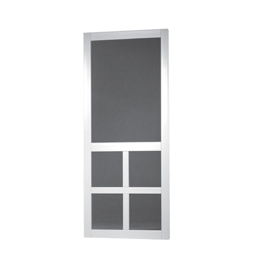 Screen Tight Lafayette White Vinyl Hinged Cross Bar Screen Door (Common: 32-in x 80-in; Actual: 32-in x 80-in)