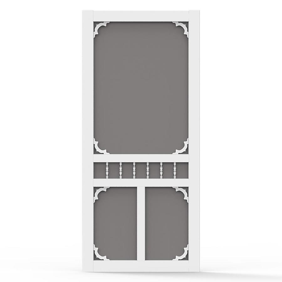 Screen Tight White Vinyl Hinged Decorative Screen Door (Common: 36-in x 80-in; Actual: 36-in x 80-in)