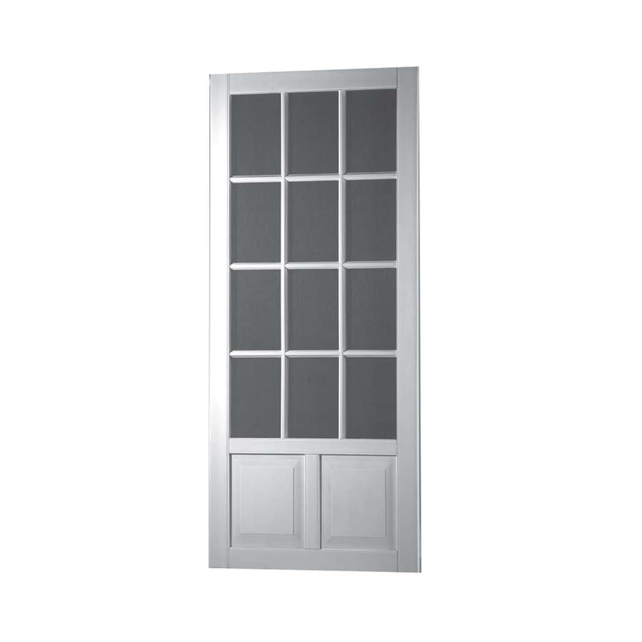 Screen Tight Wedgefield White Vinyl Hinged Screen Door (Common: 32-in x 80-in; Actual: 32-in x 80-in)