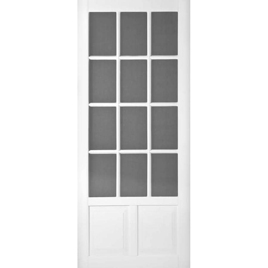 Shop screen tight wedgefield white vinyl hinged decorative for Front door screen doors lowes