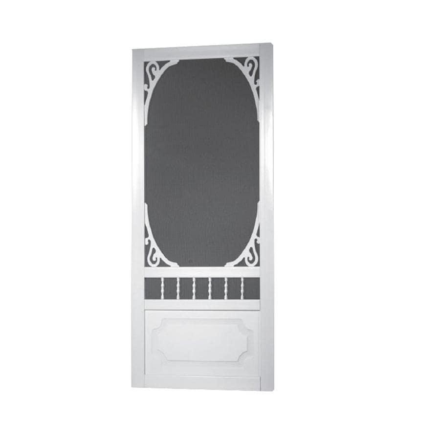 Screen Tight Belle Harbour White Vinyl Hinged Screen Door (Common: 32-in x 80-in; Actual: 32-in x 80-in)