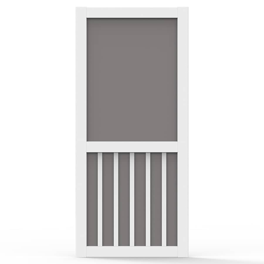 Screen Tight 5 Bar White Vinyl Hinged Screen Door (Common: 32-in x 80-in; Actual: 32-in x 80-in)