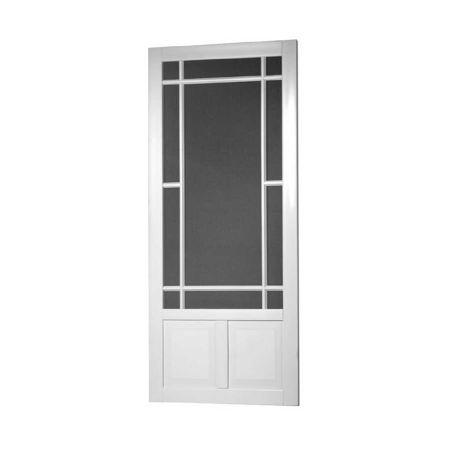 Superieur Screen Tight Prairieview White Vinyl Hinged Decorative Screen Door (Common:  36 In X