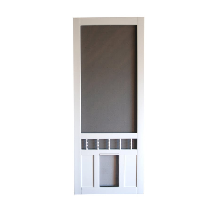 Shop Screen Tight Southport 30 In White Vinyl Screen Door With Pet