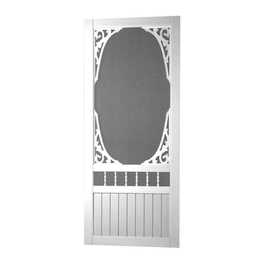 Screen Tight Springview White Vinyl Hinged Screen Door (Common: 32-in x 80-in; Actual: 32-in x 80-in)