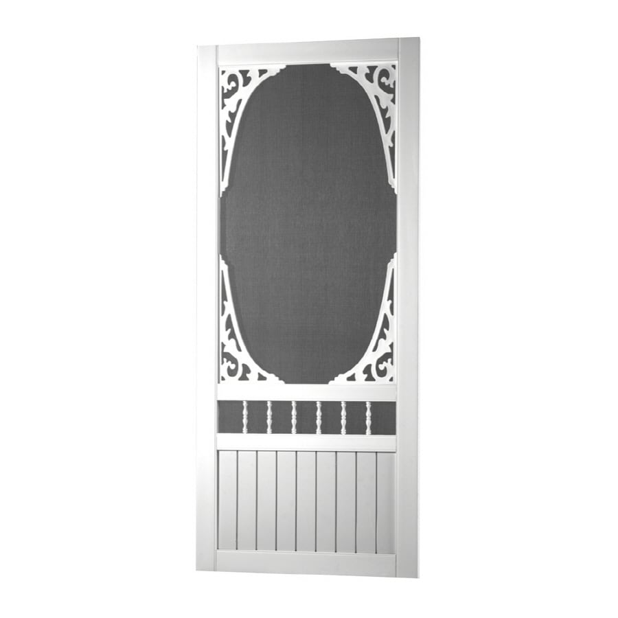 Screen Tight Springview White Vinyl Hinged Decorative Screen Door (Common:  36 In X