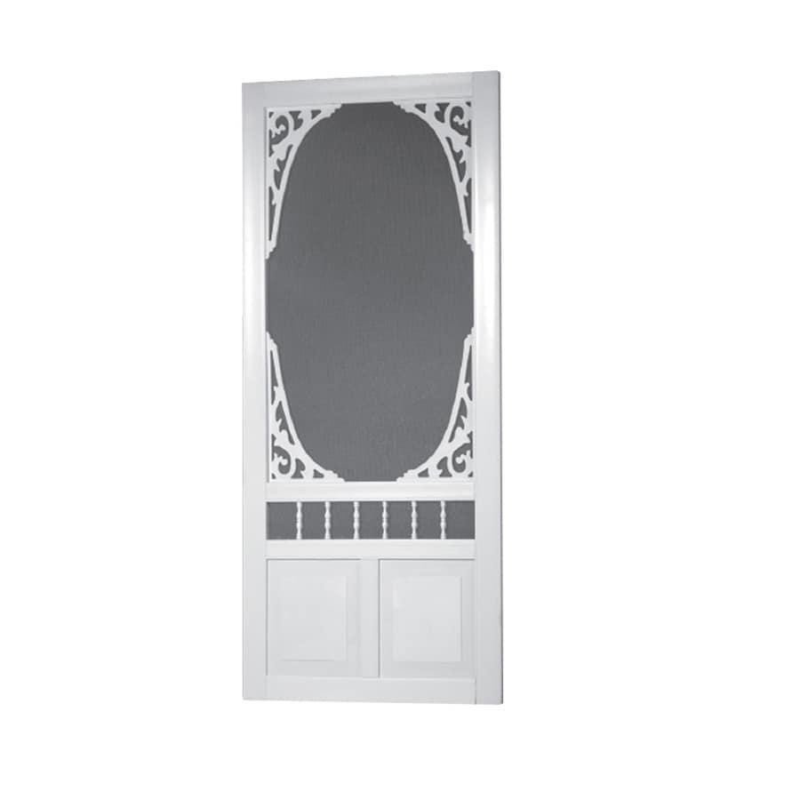 Screen Tight White Vinyl Hinged Decorative Screen Door (Common: 32-in x 80-in; Actual: 32-in x 80-in)