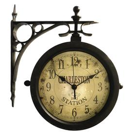 0604fa2fe611 Infinity Instruments The Charleston Analog Round Indoor/Outdoor Wall  Standard Clock