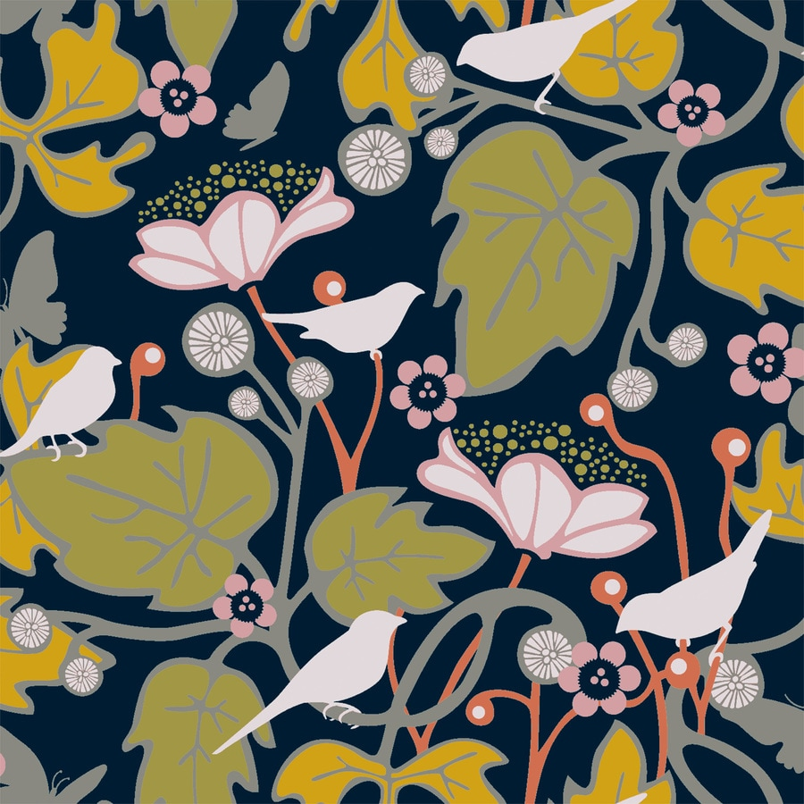 Brewster Wallcovering Wall Vision Black Non-Woven Floral Wallpaper