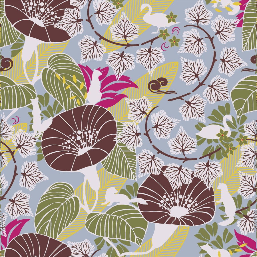 Brewster Wallcovering Wall Vision Blue Non-Woven Floral Wallpaper