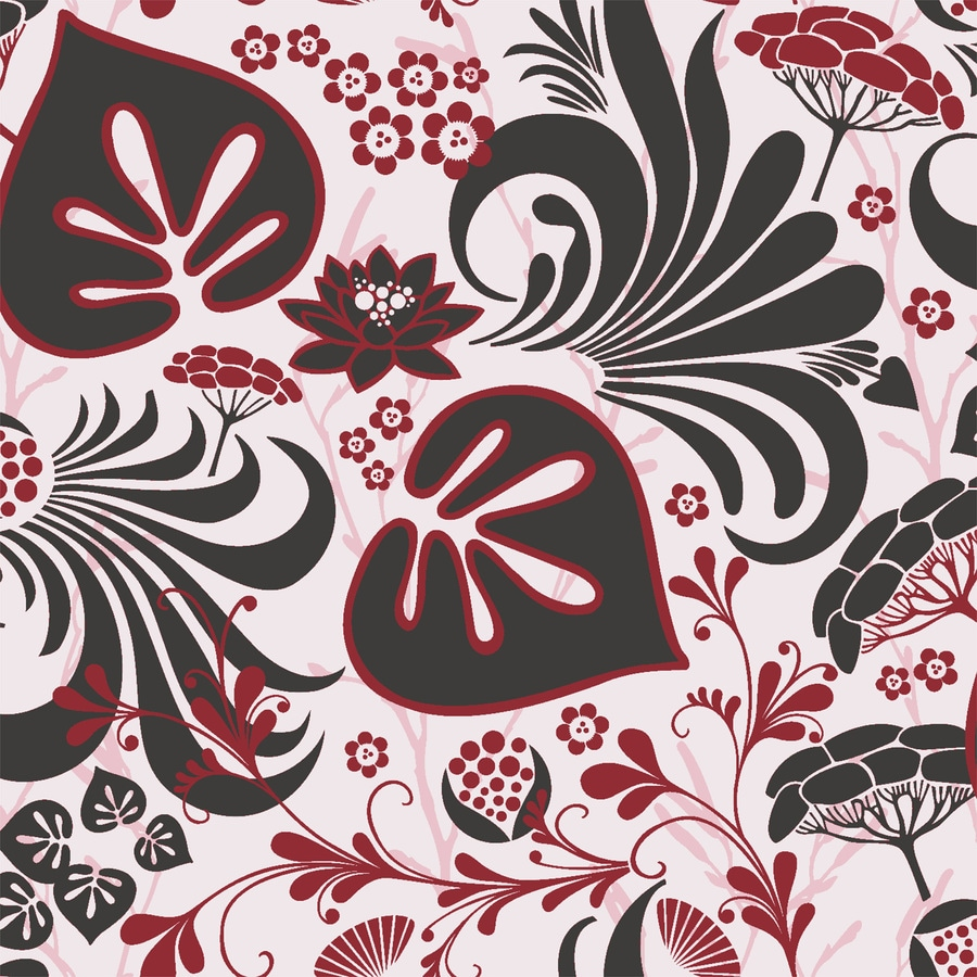 Brewster Wallcovering Wall Vision Red Non-Woven Floral Wallpaper