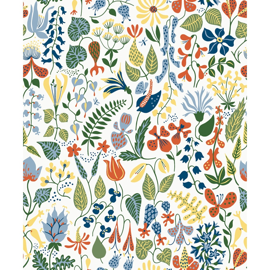 Brewster Wallcovering Wall Vision 57-sq ft White Non-Woven Floral  Wallpaper