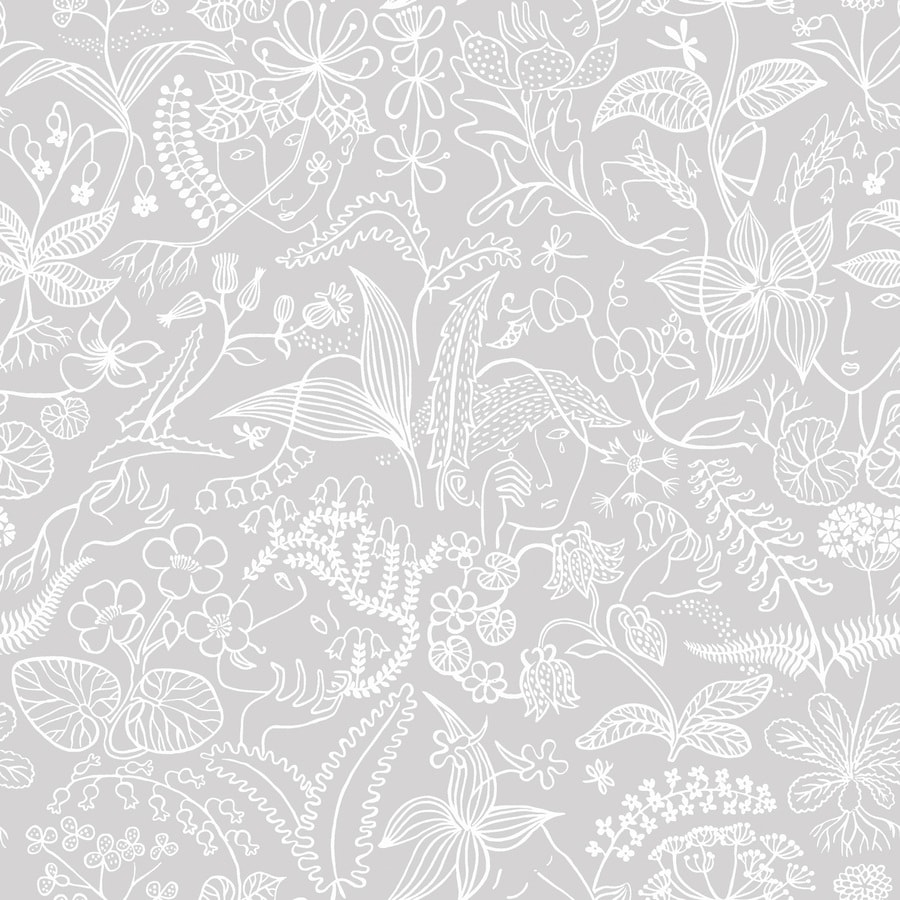 Brewster Wallcovering Wall Vision Grey Non-Woven Floral Wallpaper
