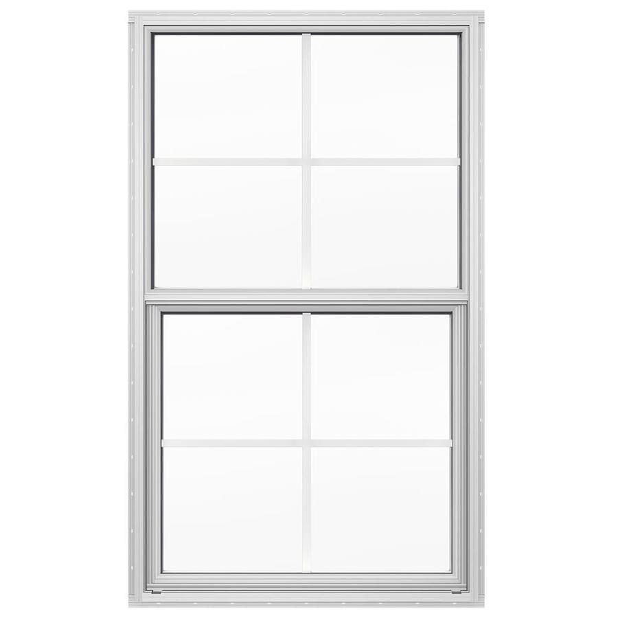 JELD-WEN 4100 Aluminum Double Pane Double Strength Replacement Single Hung Window (Rough Opening: 26-in x 37.625-in; Actual: 25.5-in x 37.375-in)