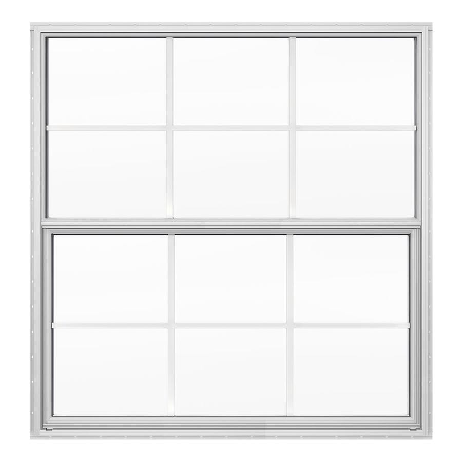 JELD-WEN 4100 Aluminum Double Pane Double Strength Replacement Single Hung Window (Rough Opening: 36.5-in x 37.625-in; Actual: 36-in x 37.375-in)